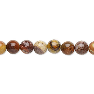 bead, birdseye rhyolite (natural), 6mm round, b grade, mohs hardness 6-1/2 to 7. sold per 16-inch strand.
