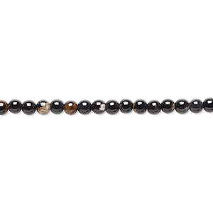 bead, black agate (dyed / heated), 3-4mm round, c grade, mohs hardness 6-1/2 to 7. sold per 15-inch strand.