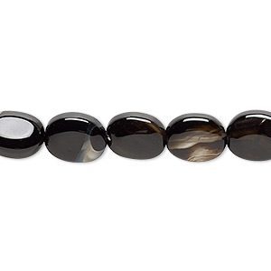 bead, black agate (dyed), 10x8mm puffed oval, c+ grade, mohs hardness 6-1/2 to 7. sold per 15-inch strand.