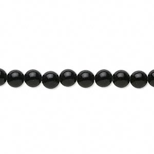bead, black agate (dyed), 4-5mm round, b grade, mohs hardness 6-1/2 to 7. sold per 15-inch strand.