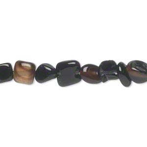 bead, black agate (dyed), small pebble, mohs hardness 6-1/2 to 7. sold per 15-inch strand.