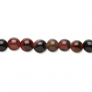 bead, black and red agate (dyed / heated), 6mm round, c grade, mohs hardness 6-1/2 to 7. sold per 16-inch strand.