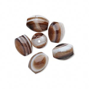 bead, black and white sardonyx (natural), 10x8mm oval, b grade. sold per pkg of 6.