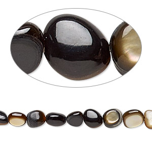 bead, black lip shell and brown lip shell (natural), mini to small nugget, mohs hardness 3-1/2. sold per 15-inch strand.