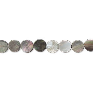 bead, black lip shell (natural), 6mm flat round, mohs hardness 3-1/2. sold per 16-inch strand.