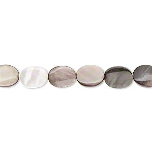 bead, black lip shell (natural), 8x6mm flat oval, mohs hardness 3-1/2. sold per 16-inch strand.
