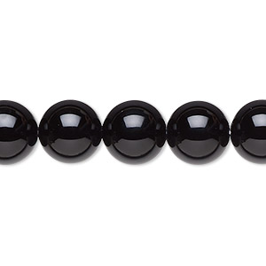 bead, black onyx (dyed), 10mm round, a- grade, mohs hardness 6-1/2 to 7. sold per 16-inch strand.