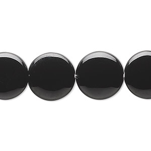 bead, black onyx (dyed), 14mm flat round, b grade, mohs hardness 6-1/2 to 7. sold per 16-inch strand.