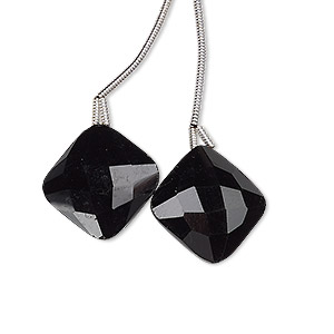 bead, black onyx (dyed), 17x17mm hand-cut top-drilled faceted puffed diamond, b grade, mohs hardness 6-1/2 to 7. sold per pkg of 2 beads.