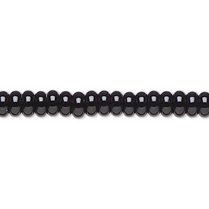 bead, black onyx (dyed), 5x2mm rondelle, b grade, mohs hardness 6-1/2 to 7. sold per 16-inch strand.