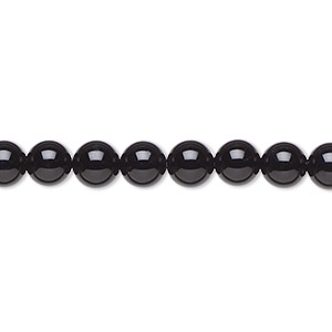 bead, black onyx (dyed), 6mm round, a- grade, mohs hardness 6-1/2 to 7. sold per 16-inch strand.