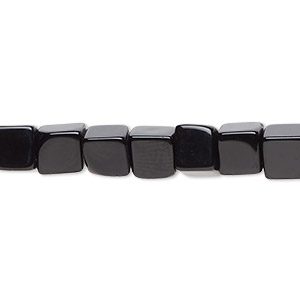 bead, black onyx (dyed), 6x6mm cube, b grade, mohs hardness 6-1/2 to 7. sold per 16-inch strand.