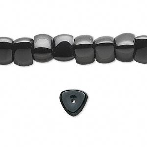 bead, black onyx (dyed), 8x6mm triangular rondelle, b grade, mohs hardness 6-1/2 to 7. sold per 16-inch strand.