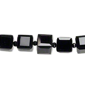 bead, black onyx (dyed), 8x8mm faceted cube, b grade, mohs hardness 6-1/2 to 7. sold per pkg of 5.