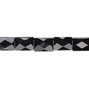 bead, black onyx (dyed), 9x6mm faceted rectangle, b grade, mohs hardness 6-1/2 to 7. sold per 16-inch strand.