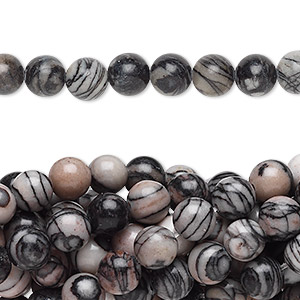 bead, black silk stone (natural), 6mm round, c grade, mohs hardness 4. sold per pkg of (10) 16-inch strands.