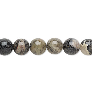 bead, black silver leaf jasper (natural), 8mm round with 0.5-1.5mm hole, b grade, mohs hardness 6-1/2 to 7. sold per 16-inch strand.