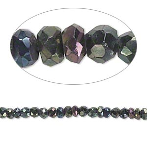 bead, black spinel (coated), iris, 3x2mm-4x3mm hand-cut faceted rondelle, b- grade, mohs hardness 8. sold per 13-inch strand.