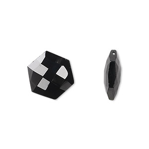 bead, black spinel (natural), 13x13mm hand-cut top-drilled faceted hexagon, b grade, mohs hardness 8. sold per pkg of 2.