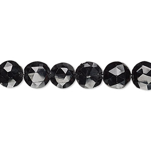 bead, black spinel (natural), 7-8mm hand-cut faceted flat round, b grade, mohs hardness 8. sold per 8-inch strand.