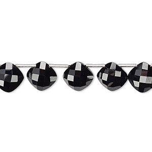 bead, black spinel (natural), 9mm hand-cut top-drilled faceted puffed diamond with 0.4mm-1.4mm hole, b+ grade, mohs hardness 8. sold per pkg of 11 beads.