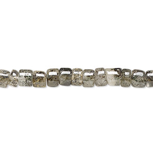 bead, black spotted quartz (natural), 4x2mm-6x4mm hand-cut heishi, c grade, mohs hardness 7. sold per 14-inch strand.