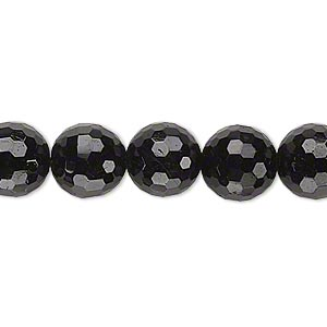bead, black tourmaline (natural), 10mm faceted round, b grade, mohs hardness 7 to 7-1/2. sold per 15-inch strand.