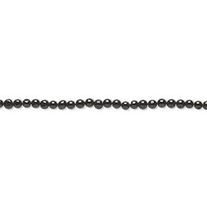 bead, black tourmaline (natural), 2mm hand-cut round, c- grade, mohs hardness 7. sold per 16-inch strand.