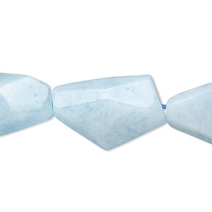 bead, blue aquamarine (dyed / heated), medium to large faceted flat nugget, mohs hardness 7-1/2 to 8. sold per 15-inch strand.