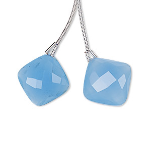 bead, blue chalcedony (dyed), 17x17mm hand-cut top-drilled faceted puffed diamond, b grade, mohs hardness 6-1/2 to 7. sold per pkg of 2 beads.