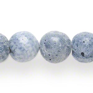 bead, blue coral (coated), matte, 12-14mm round, mohs hardness 3-1/2 to 4. sold per 17-inch strand.