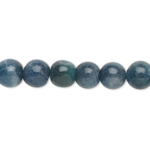 bead, blue-green aventurine (dyed), 7-9mm hand-cut round, c grade, mohs hardness 7. sold per 12-inch strand.