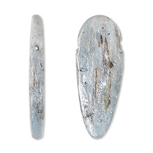 bead, blue kyanite (natural), 25x10mm-40x12mm top-drilled freeform, c grade, mohs hardness 4 to 7-1/2. sold individually.