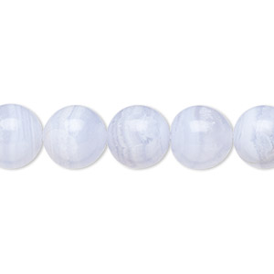 bead, blue lace agate (natural), 10mm round, b grade, mohs hardness 6-1/2 to 7. sold per 16-inch strand.