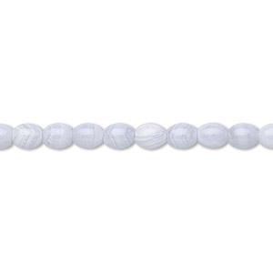 bead, blue lace agate (natural), 10x8mm oval, b grade, mohs hardness 6-1/2 to 7. sold per 16-inch strand.