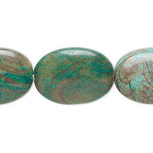 bead, blue sky jasper (dyed / stabilized), 25x18mm flat oval, c grade, mohs hardness 6-1/2 to 7. sold per 16-inch strand.