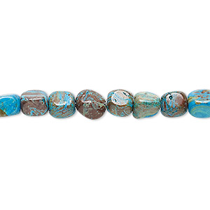bead, blue sky jasper (dyed / stabilized), small tumbled pebble, mohs hardness 6-1/2 to 7. sold per 16-inch strand.