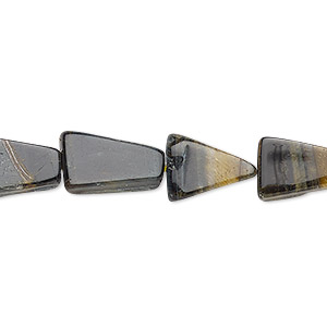 bead, blue tigereye (natural), 11x8mm-14x10mm hand-cut flat trapezoid, d grade, mohs hardness 7. sold per 13-inch strand.
