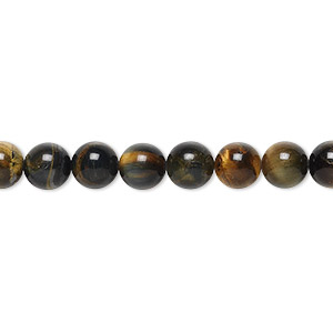 bead, blue tigereye (natural), 6mm round, b grade, mohs hardness 7. sold per 16-inch strand.
