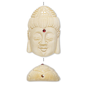 bead, bone (dyed / coated) and glass, antique tan / white / red, 28x18mm hand-carved single-sided kwan yin, mohs hardness 2-1/2. sold individually.