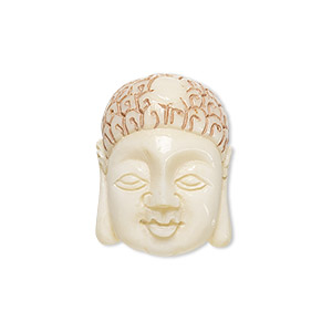 bead, bone (dyed / coated), antique tan and white, 24x18mm hand-carved single-sided buddha, mohs hardness 2-1/2. sold individually.