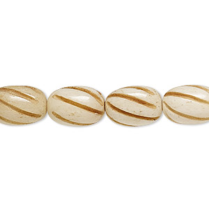 bead, bone (dyed), antiqued, 12x8mm spiral oval, mohs hardness 2-1/2. sold per 16-inch strand.