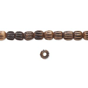 bead, bone (dyed), antiqued and black, 5x4mm corrugated barrel. sold per 16-inch strand.