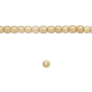 bead, bone (dyed), antiqued brown and white, 4mm round, mohs hardness 2-1/2. sold per 16-inch strand.