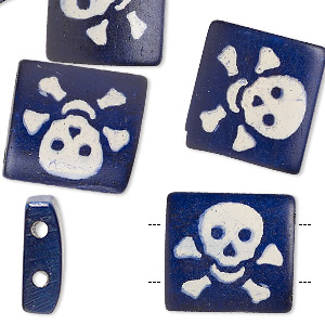 bead, bone (dyed), denim blue, 17x15mm double-drilled rectangle with skull imprint on one side. sold per pkg of 10.