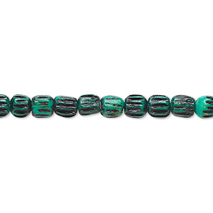 bead, bone (dyed), green and black, 5x4mm corrugated barrel. sold per 16-inch strand.