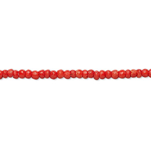 bead, bone (dyed), red, 2mm round. sold per 16-inch strand.