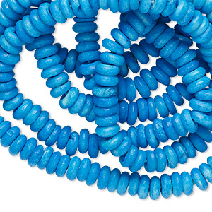 bead, bone (dyed), turquoise blue, 6x2mm rondelle. sold per 36-inch strand.