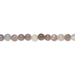 bead, botswana agate (natural), 4mm round, b grade, mohs hardness 6-1/2 to 7. sold per 16-inch strand.