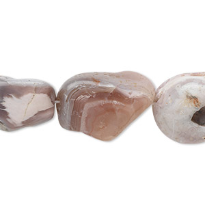 bead, botswana agate (natural), small to large nugget, mohs hardness 6-1/2 to 7. sold per 15-inch strand.